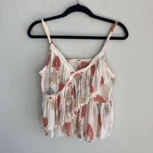 Free People Floral Sleeveless Layered Ruffle Top